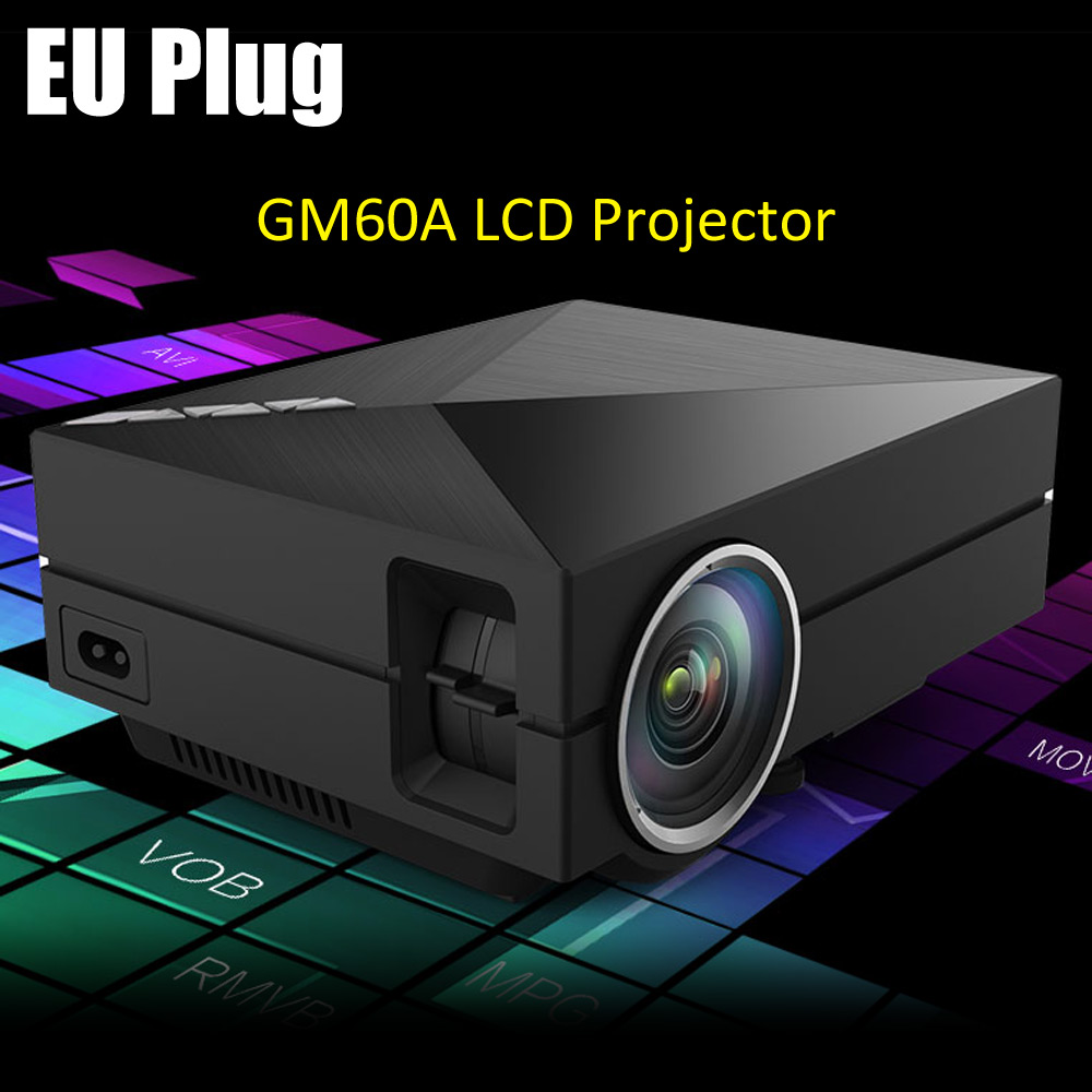 GM60A LCD Projector 1000 Lumens 800 x 480 Pixels with USB HDMI VGA AV SD Card Input Support DLNA Miracast Airplay / HD 1080P box