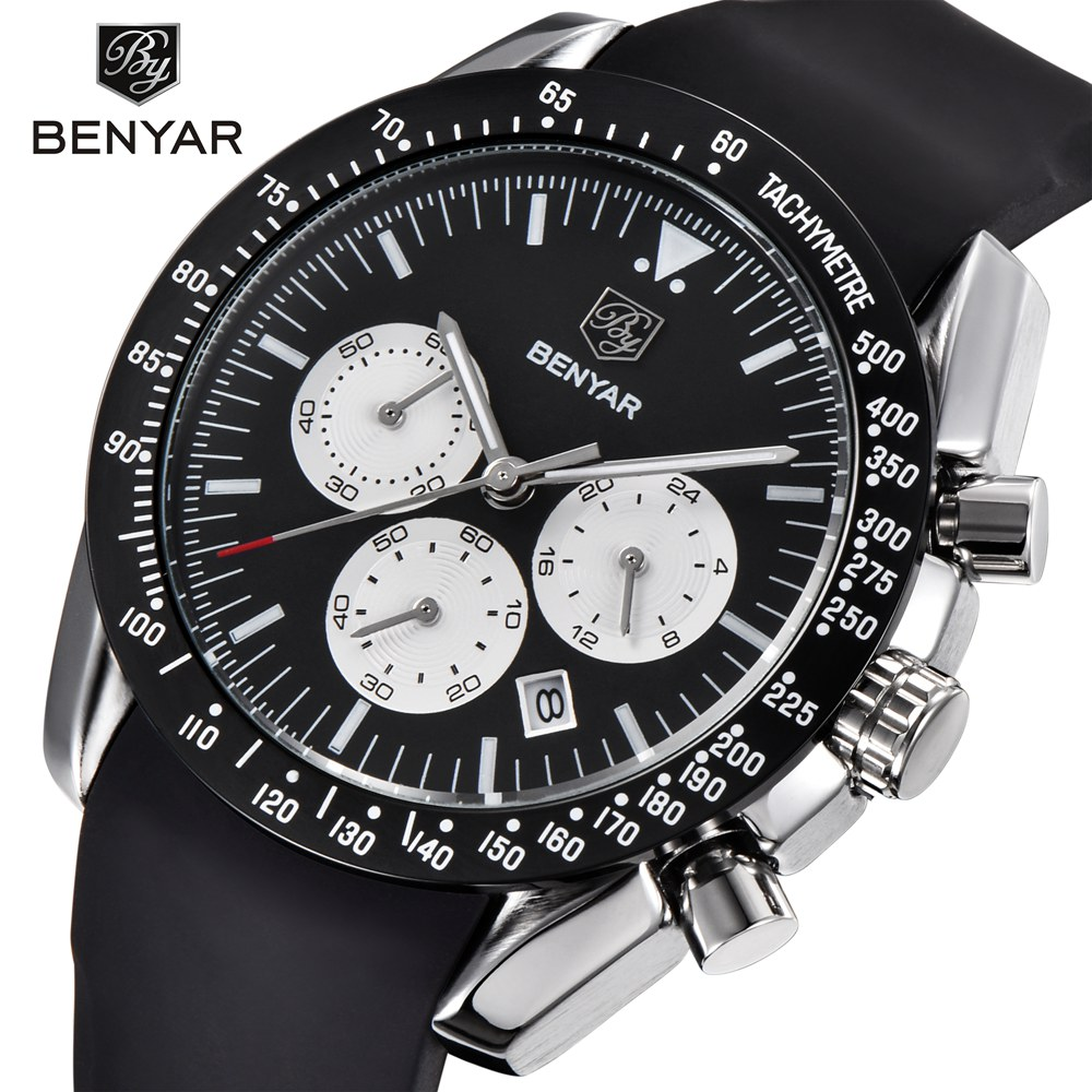 BENYAR Men Watch Quartz Sport Watch Luxury Brand Silicone Strap Business Waterproof Wrist Watch Men Clock Male Relogio Masculino benyar quartz watch men sport watch luxury brand leather wrist watch men chronograph business watch male clock relogio masculino