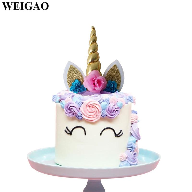 Festive & Party Supplies Weigao Rainbow Unicorn Party Decor Unicorn Horn Cake Topper Birthday Cakes For Girl Unicornio Party Cupcake Flags Cake Topper