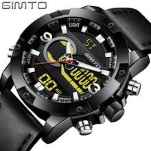 купить GIMTO Luxury Brand Men's Watches Leather LED Digital Watch Men Sports Waterproof Military Stopwatch Watches Relogio Masculino по цене 1508.06 рублей