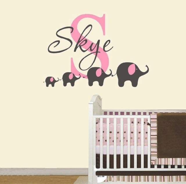 4 elephant wall decal custom name removable nursery wall decals vinyl wall stickers for baby kids