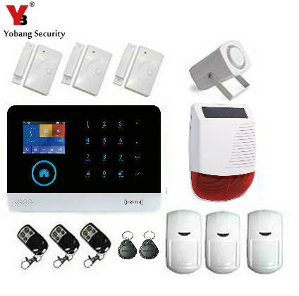 YobangSecurity Security Wireless Wifi SMS GSM Autodial Home Burglar Intruder Alarm Solar Power Siren PIR Motion Door Detector yobangsecurity touch keypad wireless wifi gsm home security burglar alarm system wireless siren wifi ip camera smoke detector