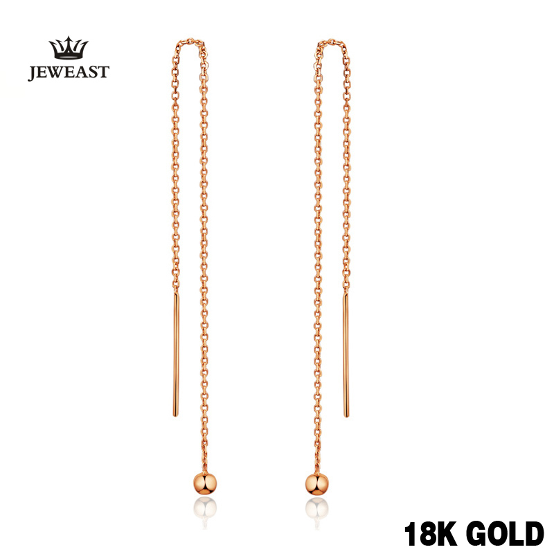 18k Pure Gold Drop Earrings Simple Classic Tasteful Vintage Charm Real 750 Solid Good Fine Party Discount Women Girl Like Gift 18k pure gold earrings white rose star fine jewelry genuine real 750 solid 2017 hot selling women girl gift trendy party good