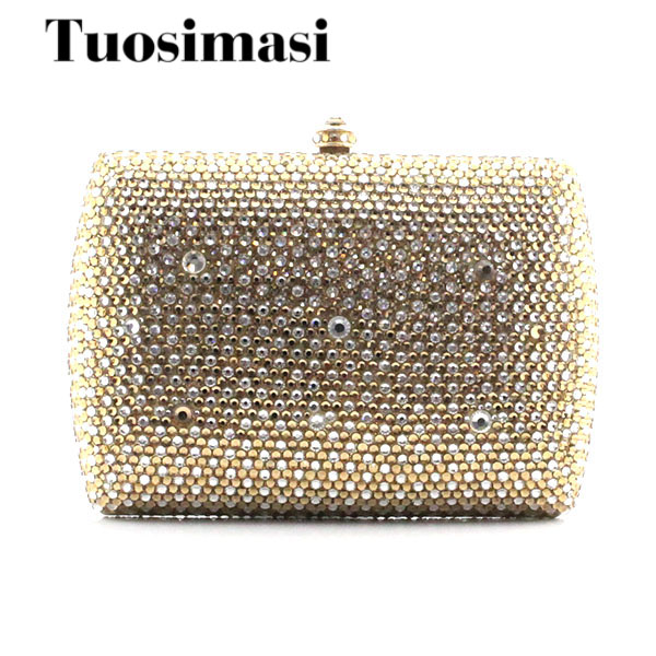 Mystic River Gold Luxury Clutch Purse Stone Crystal Clutches Women Evening Bags Banquet Party Bag(1015GW)
