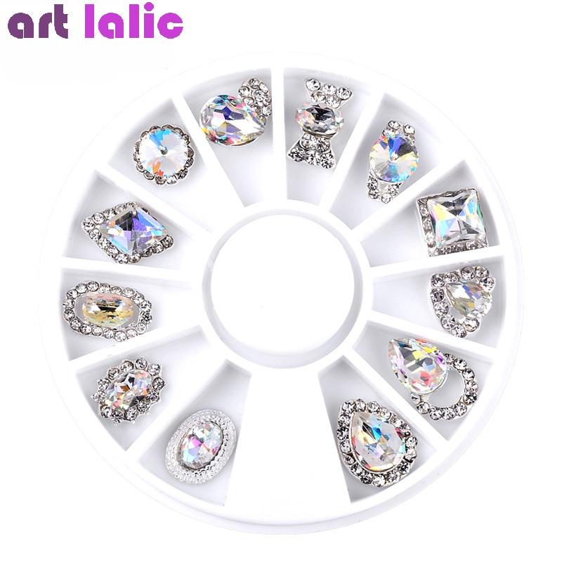 Nail Art AB Crystal Wheel Rhinestone Diamond Gems Metal Glitter 3D Tips Accessoires Jewelry Manicure Tools Decoration DIY Design