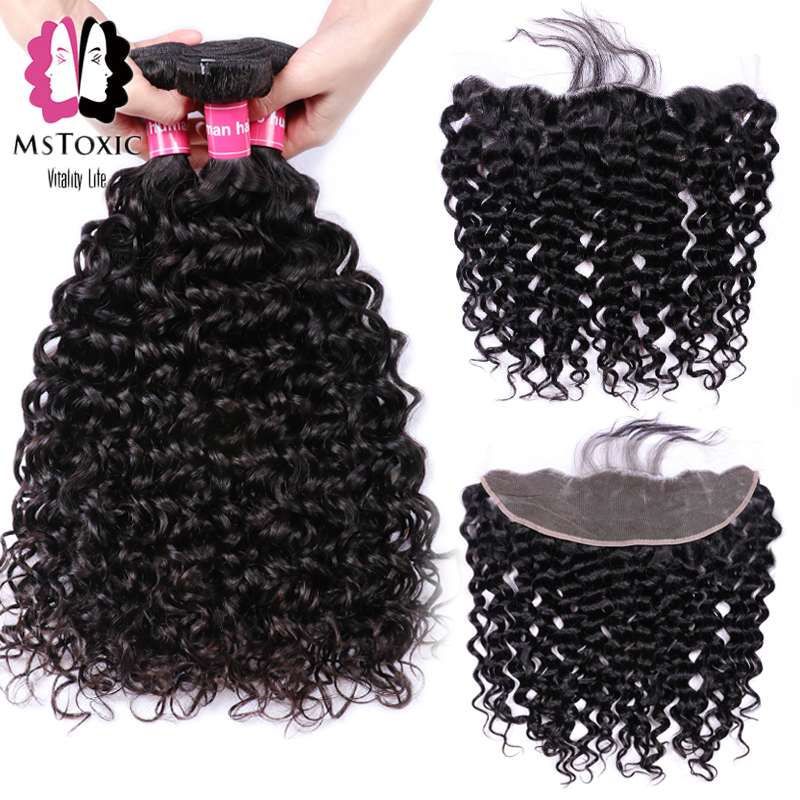 Mstoxic Brazilian Water Wave Bundles With Frontal Human Hair Bundles With Closure Non-Remy Lace Frontal Closure With Bundles