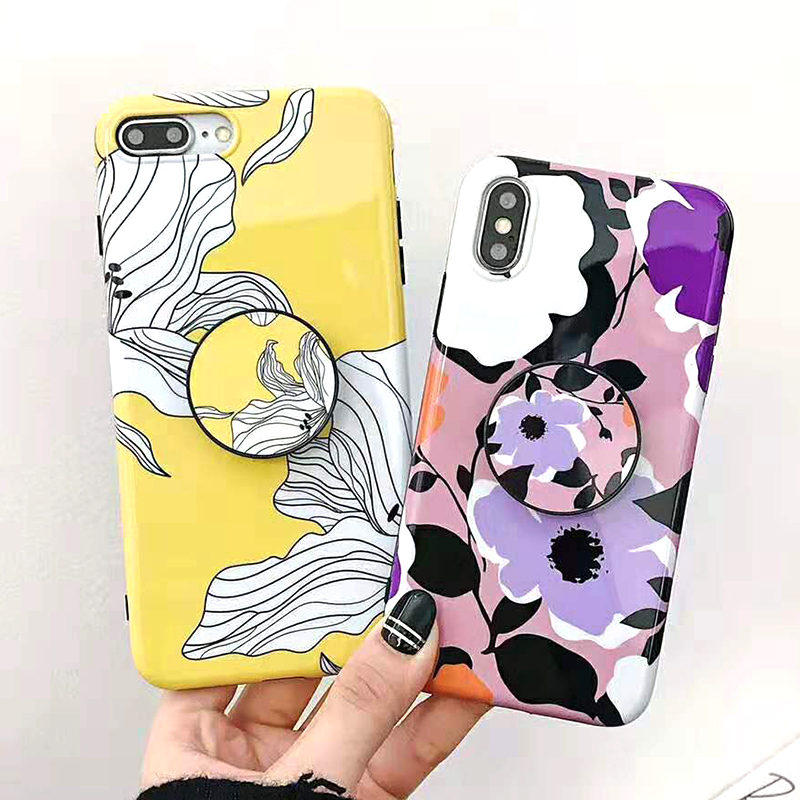 Bracket Case For iPhone XS Max XR X 8 7 6 6S 7 8 Plus Yellow Flowers Glossy Soft IMD Fashion Phone Back Cover Cases Coque Gift (9)