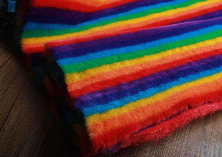 Rex lapin cheveux arc-en-ciel doux tapis en peluche laine tissu pour manteau textiles à la main patch Jacquard épais tecido sequin tissu A339 - 5