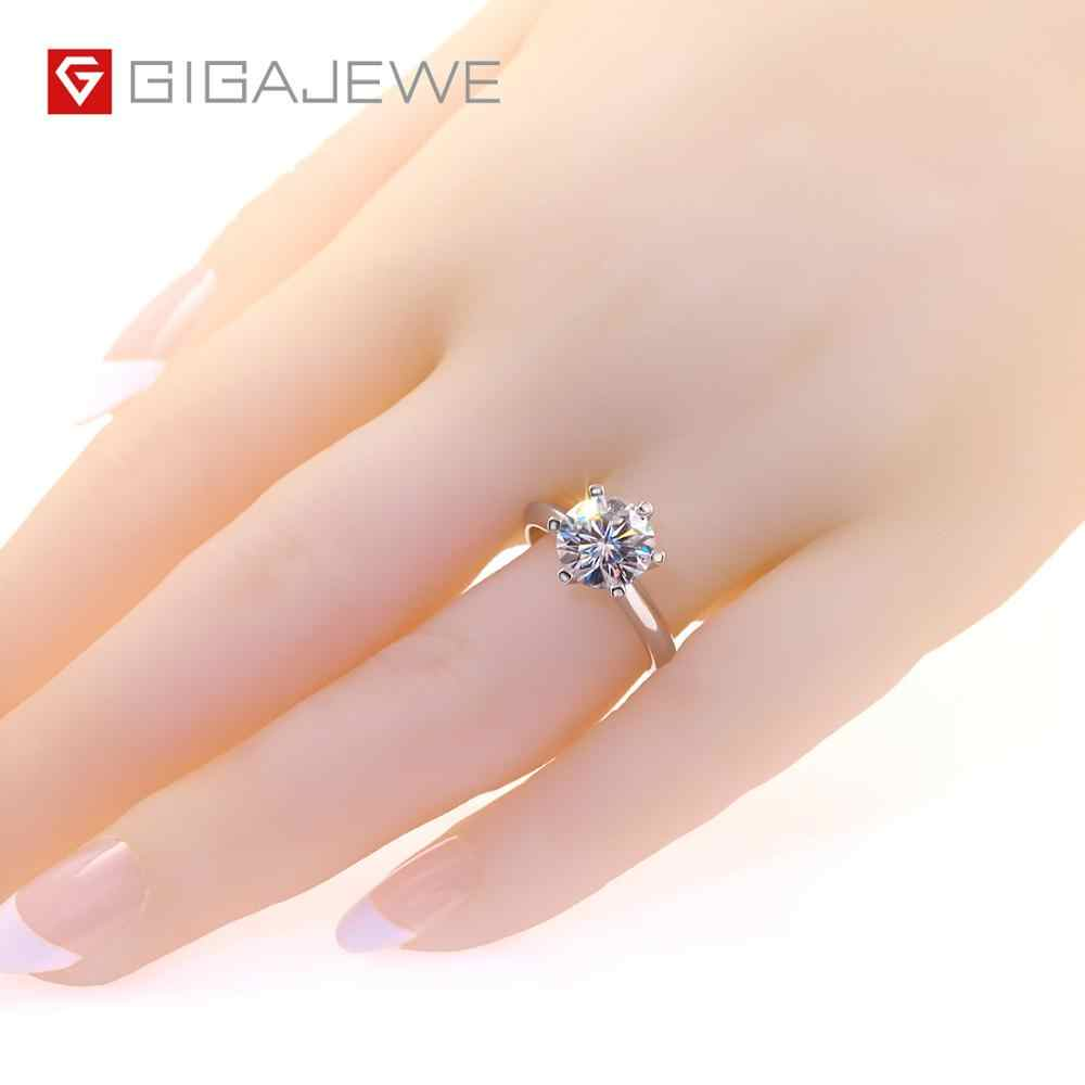 GIGAJEWE 3.0ct 9.0 มม.EF รอบ 18K สีขาวทองชุบ 925 เงิน Moissanite แหวนเพชรผ่านการทดสอบเครื่องประดับแฟนของขวัญ