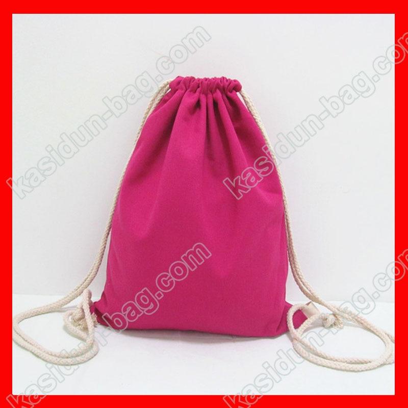 (200pcs/lot) Size 30x35cm 12oz Rose Red Color Canvas Drawstring Backpack For Kids