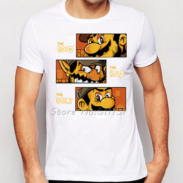 Video game Super Mario Bros Funny Humor The Good/the Bad and the Ugly Printed T Shirts Summer Men/Boy Gamer Tee Shirt Tops