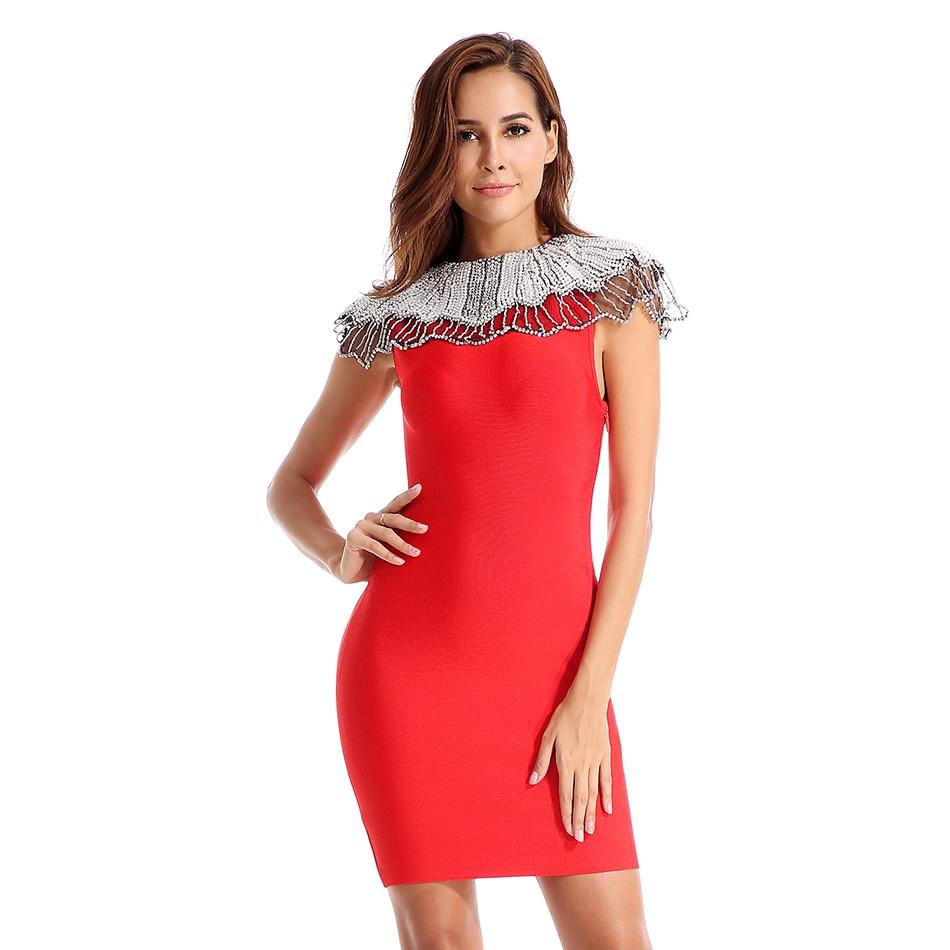 2019 модные, пикантные Клубные платья повязки одежда с бусами Новый O шеи Вечеринка лето знаменитости Для женщин платье мини платье