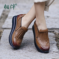 Thick bottomed women shoes heels platform spring autumn ladies shoes slip on fashion female leather casual shoes