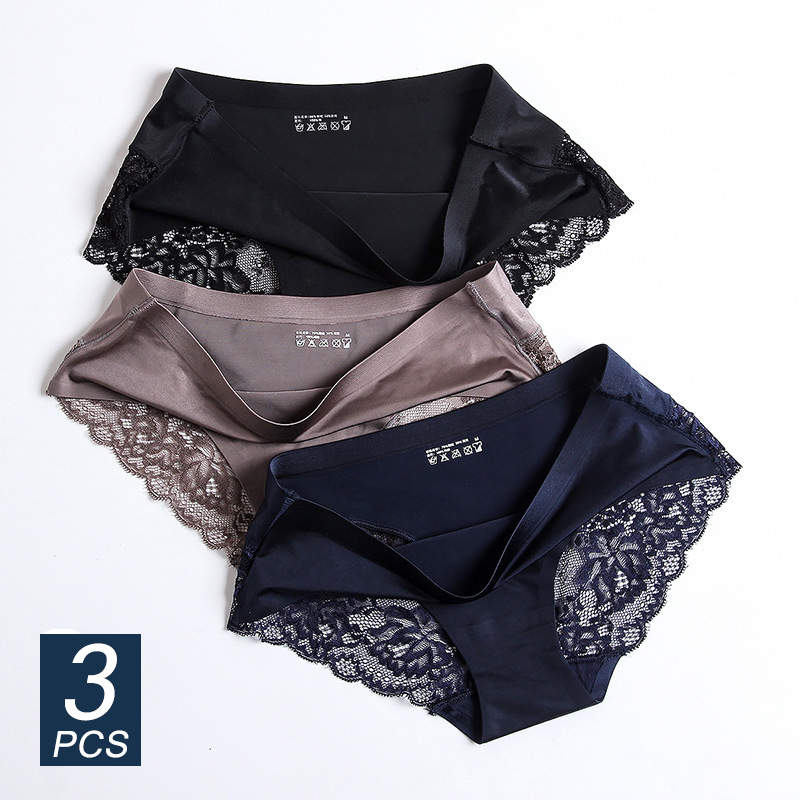 Lace Panties Briefs Lingerie Sexy Underwear Silk Comfortable Seamless Nylon Female Women's