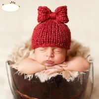 Newborn Baby Girl Crochet Cute Hat Photography Props Baby Girl Bows First Birthday Picture Shoot Photo Props Accessories Cap