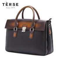 TERSE New Men`s Handbag Genuine Leather Patch work Vintage England Style Luxury Totes For Men Large Capacity Handbags Bag 9341 1