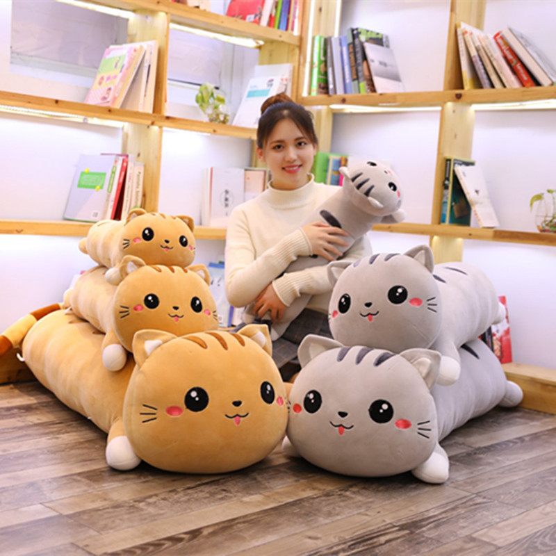 110cm Giant Kawaii Lying Cat Plush Soft Pillow Cute Stuffed Animal Toys Lovely Doll For Kids Girls Christmas Birthday Gift