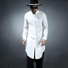 Лето длинный параграф рубашка мужская личность тренд корейский Молодежный самосовершенствование сплошной цвет складка рубашка певица костюмы