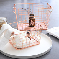 Scandinavian Rose Gold Metal Storage Basket Nordic Chic Fruit Basket Iron Basket Desk Storage Organizer Decor Basket for Home