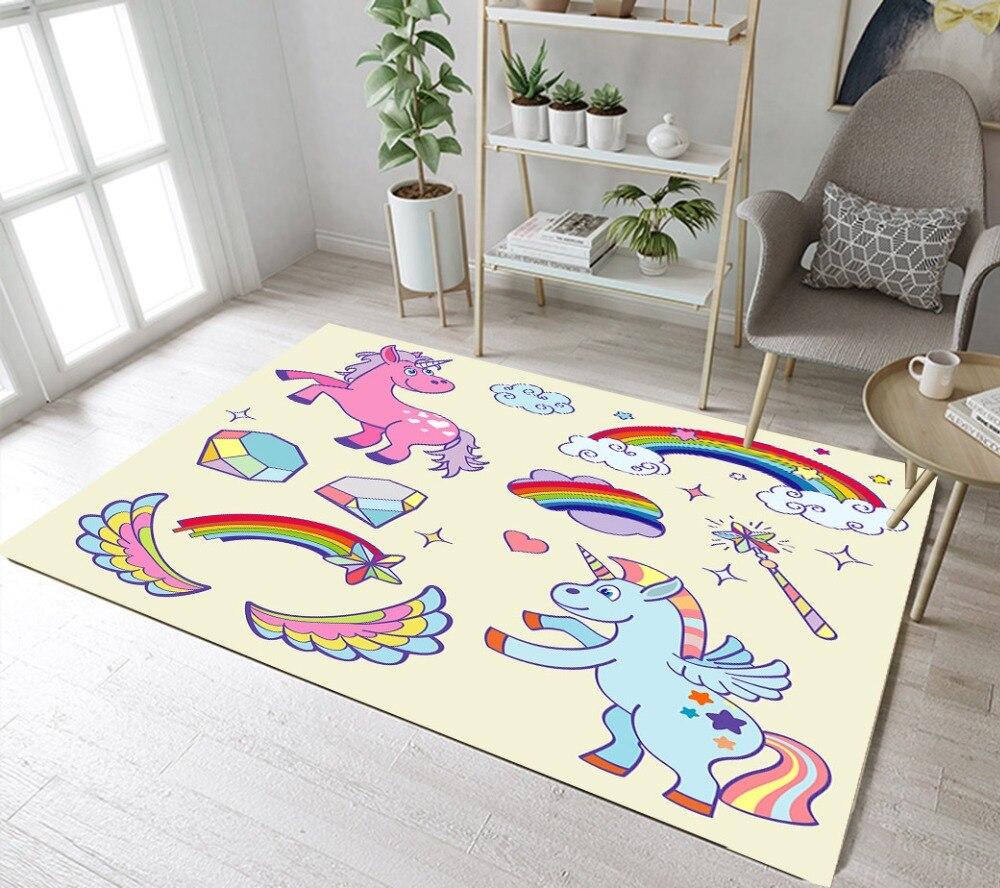 cartoon rainbow area rug bedroom carpet lb floor mat living unicorn rugs slip fairy non doormat garden room bathroom kitchen