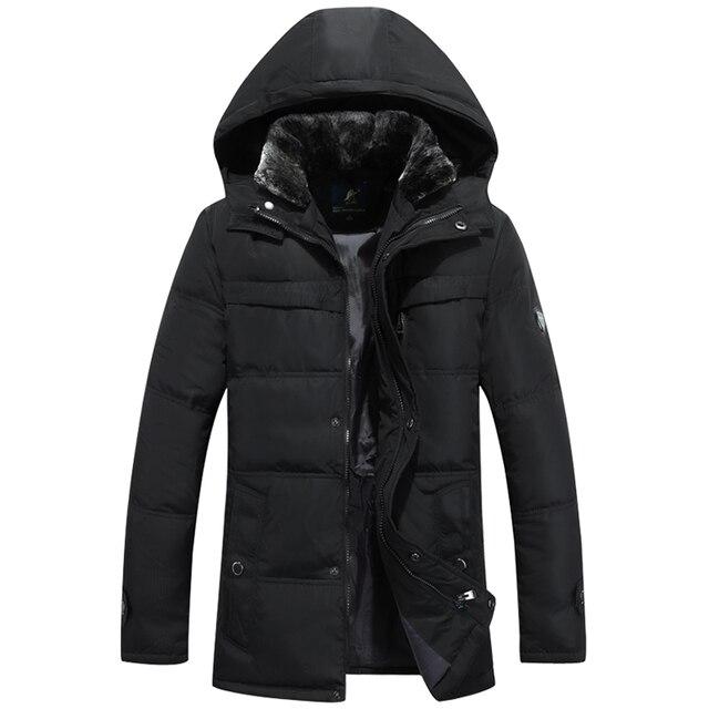 Q-IMAGE 2016 Homens de Inverno de Espessura Para Baixo Jacket90 % Pato Branco Para Baixo Casacos Longos Dos Homens Novos Para Baixo Casaco Roupas de Marca Com