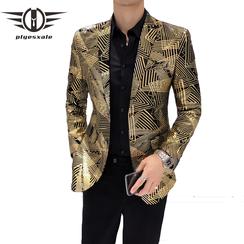 Plyesxale Gold Blazer Jacket For Men Slim Fit Mens Casual Blazers And Suit Jacket Striped Pattern Wedding Party Blazer Q157