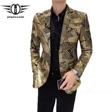 Plyesxale זהב בלייזר מעיל לגברים Slim Fit Mens מזדמן טרייל וחליפה מעיל פסים דפוס חתונה מסיבת בלייזר Q157