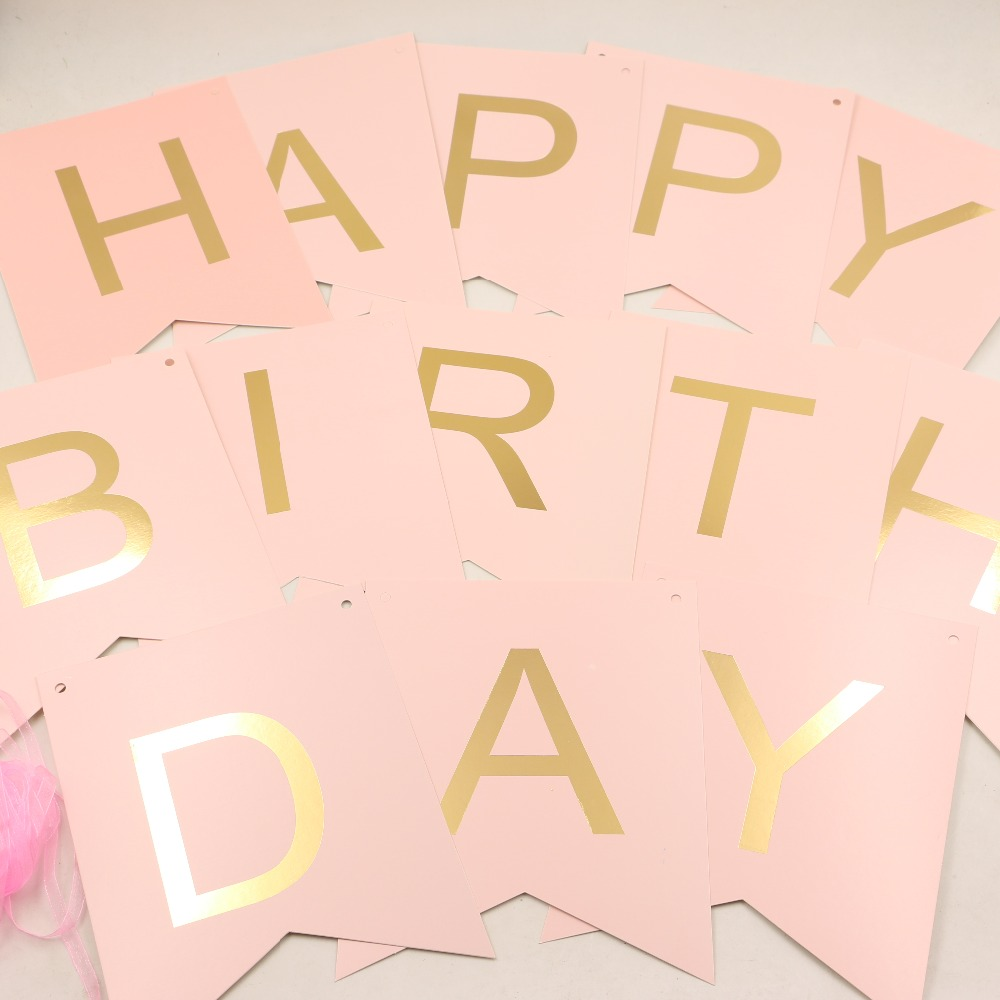 4 colors Glitter Happy Birthday Bunting Banner Gold Letters Hanging ...