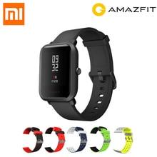 Купить онлайн Глобальная версия Xiaomi Huami Amazfit темп Bip бит спортивные Смарт-часы Bluetoot 4,0 gps монитор сердечного ритма 45 дней в режиме ожидания добавить фильм