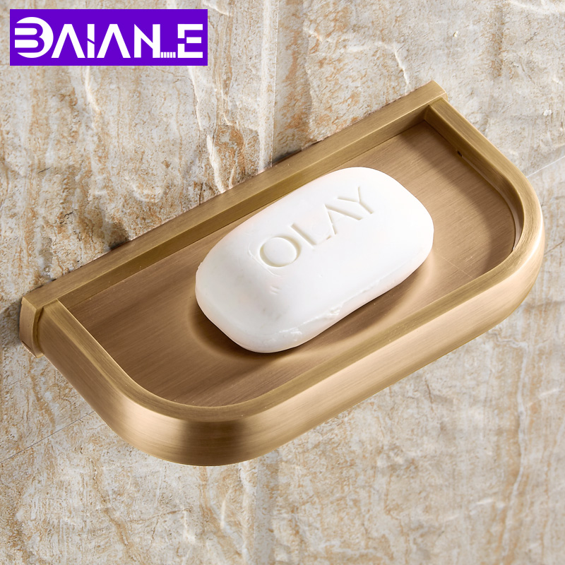 BAIANLE Toilet Soap Dish with Drain Bathroom Soap Box Wall Mount Drainage Tray Brass Soap Holder