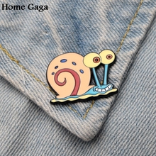 Homegaga Gary the Snail Zinc tie cartoon Funny Pins backpack clothes brooches for men women hat decoration badges medals D1697
