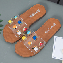 Fashion Rivet Transparent Slippers Women Summer Shoes Indoor Flat Slippers Beach Sandals Women Slides Flip Flops Buty Damskie