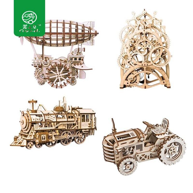 Robud DIY 3D Laser De Coupe En Bois Mécanique Modèle Kits de Construction D'action par Clockwork Jouets Loisirs Cadeau pour Enfants Adulte LK
