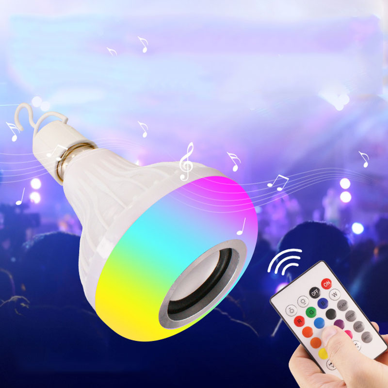 Wireless Bluetooth LED RGB Light Speaker Bulb Music Playing Dimmable  Lamp Bulb with 24 Keys Remote Control CLH@8 speaker bluetooth led rgb light music large bulb lamp color changing via wifi app control mp3 player wireless bluetooth speaker
