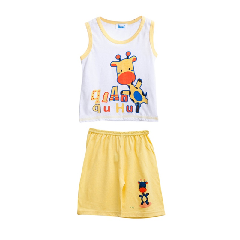 Summer Kids  Cute Baby Boys Printed Cartoon Sleeveless T-Shirt Tank Tops + Shorts Set Casual Cotton Clothes Outfits hot sale 2016 kids boys girls summer tops baby t shirts fashion leaf print sleeveless kniting tee baby clothes children t shirt