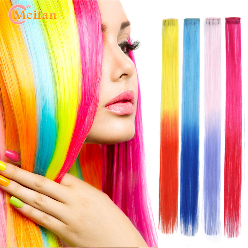 MEIFAN Single Clip 20 Inch Ombre Colored Long Straight Hair strands Clip in One Piece Hair Extensions Fake Hairpieces   Headwear