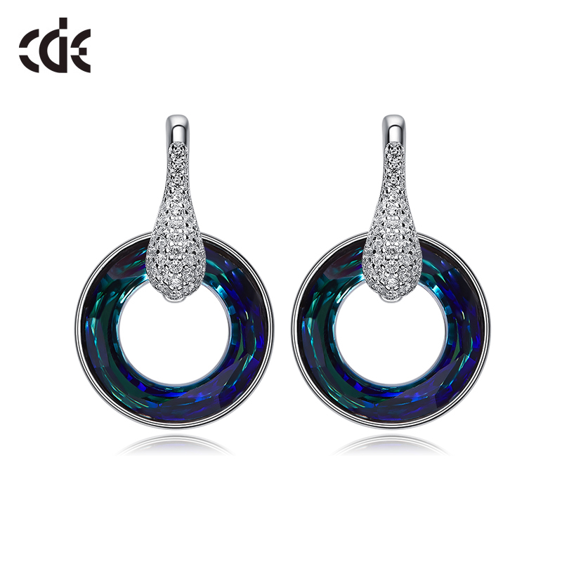 CDE 925 Sterling Silver Embellished with crystals from Swarovski earrings Jewelry woman Fashion wheel Pendant fine