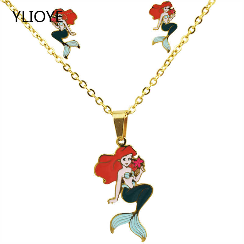Cartoon Mermaid dubai jewelry sets Necklace Set Pendants Stainless Steel Golden Plated Necklace Earrings Jewelry Sets Kids Gift