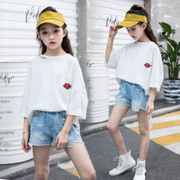 Teenage Girls Clothing Set Summer Fashion T shirt Jeans Shorts Suit for Girls Outfits 10 12 Year Kids Tracksuit Children Clothes