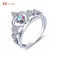 Fashion Princess Crown Tiara Ring Fire Mystic Rainbow Crystal Wedding Sterling Silver 925 Stamp Engagement Ring