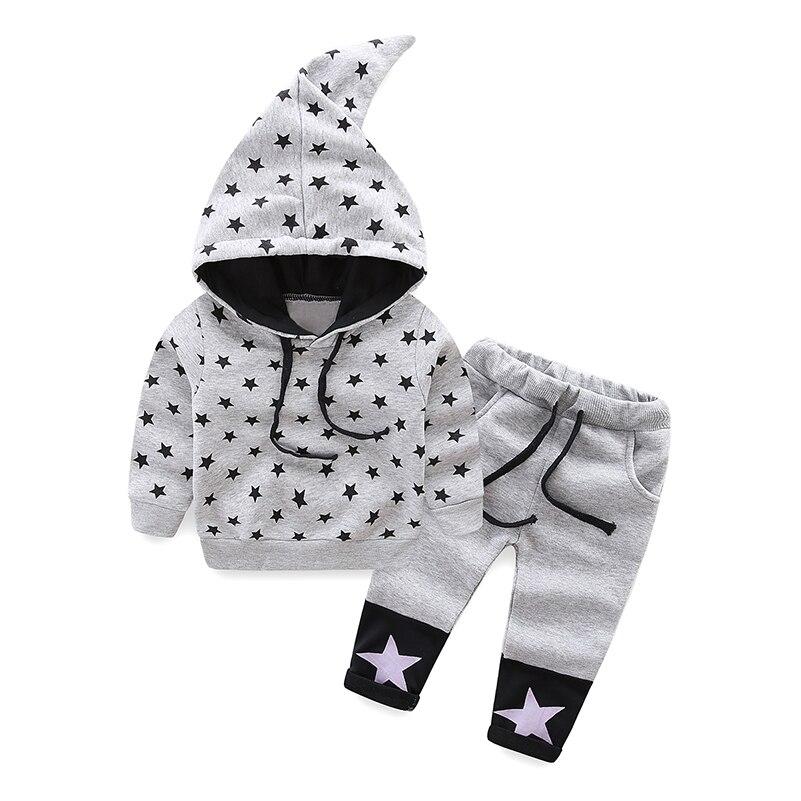 Mudkindom Toddler Boys Girls 2 Pieces Set Kids Winter Autumn Star Hooded Pulovr Elastický pas stahovací kalhoty Teplákové soupravy