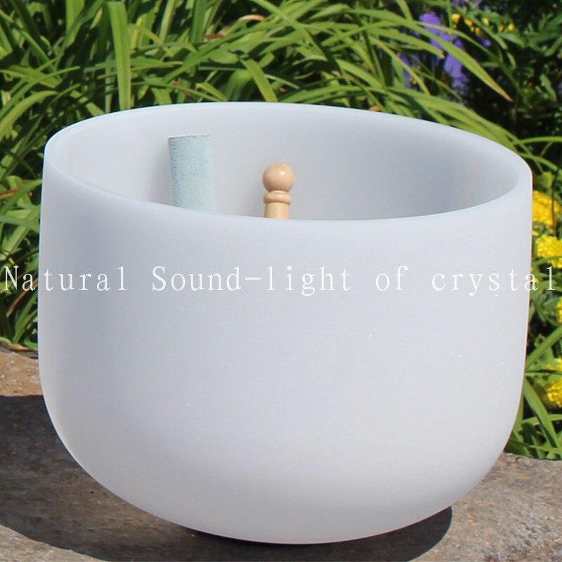 11 pouce Note C racine chakra givré Cristal de Quartz Singing Bowl