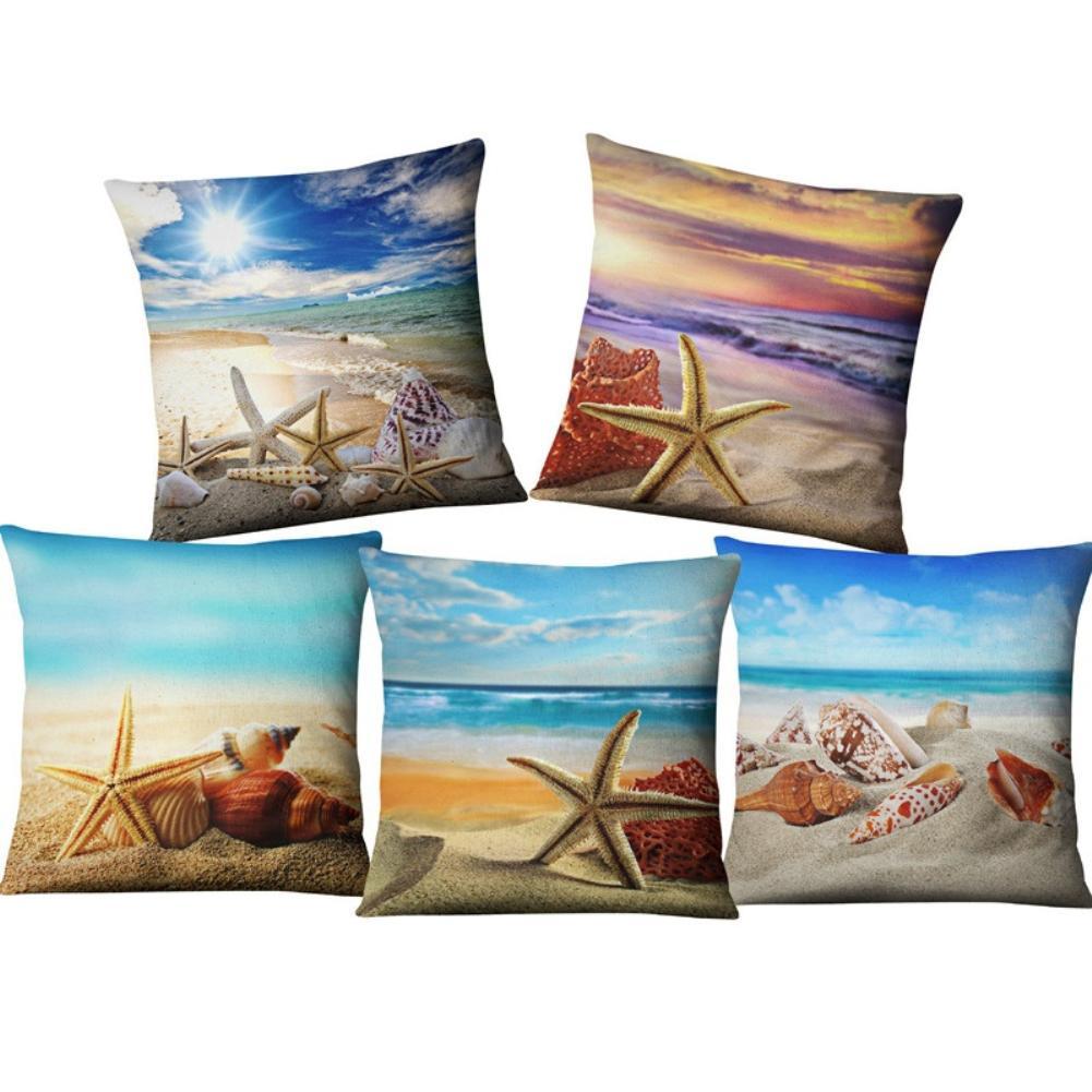 Summer Beach Starfish Durable Linen Zipper Cushion Cover Throw Pillow Case Decor