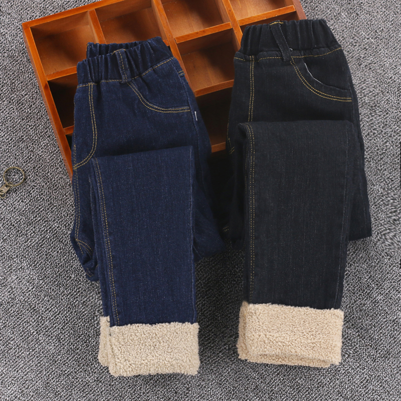 2018 Warmed Girl winter jeans High quality Thick Children girls Skinny Jeans Kids Trousers Girls Children Pants for 4-14 years high street fashion men s jeans high quality elastic hip hop jeans men punk pants brand black stripe printed skinny ripped jeans
