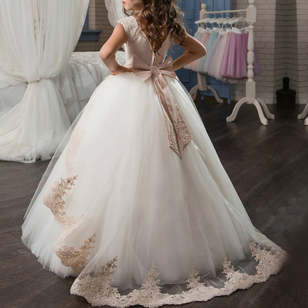 Girls Kids Princess Wedding Pageant Bridesmaid Birthday Party Formal Long Dress
