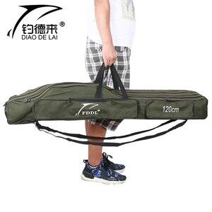 Image 2 - حقيبة محمولة قابلة للطي لحمل قضيب صيد الأسماك حقيبة تخزين لأدوات قطب الأسماك