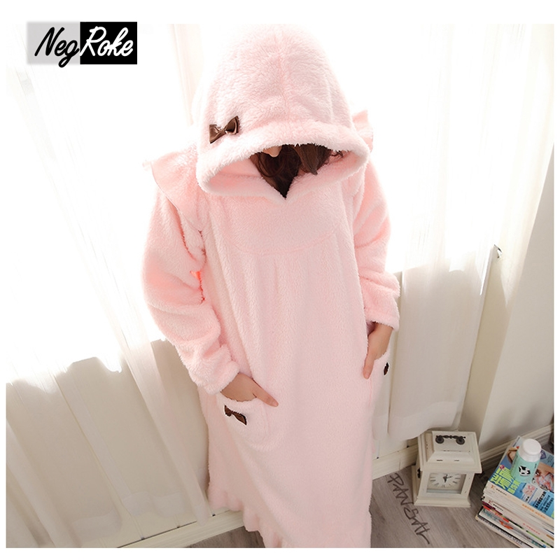 plus size winter thicken flannel hooded warm women night dress homewear ladies long sleeve lovely sleepwear ankle nightdress - Flannel Nightgowns