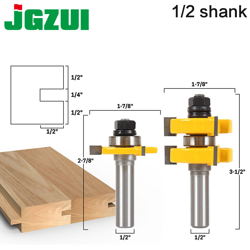 2pc 1/2 Shank Tongue & Groove Router Bit Set - Large Stock up to 1-1/4 Woodworking cutter TenonCutter for Woodworking RCT15211