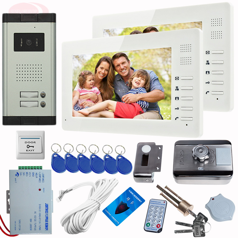 Door Video Phone Intercom System Night Vision Video Camera 2 Buttons With Rfid Unlock Electronic Lock Video Intercom 2 Monitor 7inch 2 4ghz wireless intercom unlock video door phone with 3camera