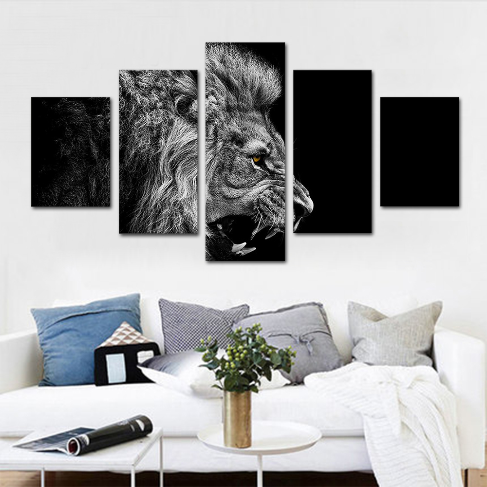 Unframed HD Print 5 Canvas Art Painting Grey Lion Living Room Decoration Spray Painting Mural Unframed Free Shipping